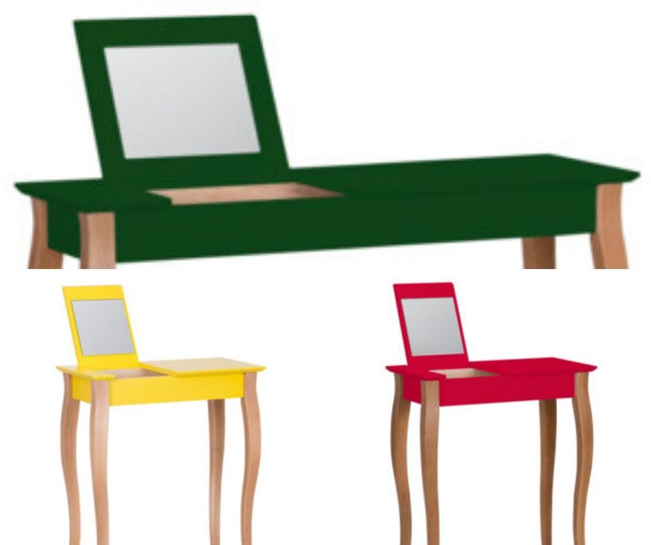 Színes sminktároló asztalok