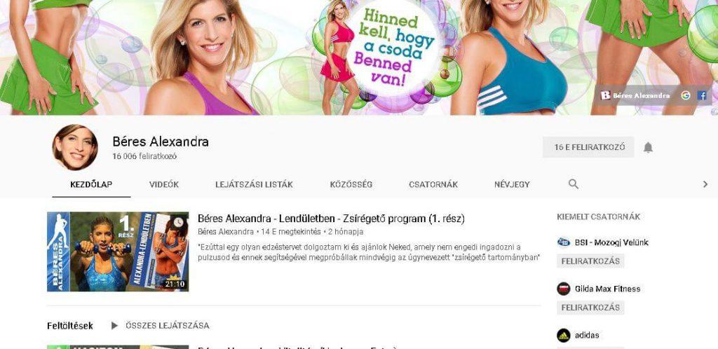 Az egyik legjobb magyar Youtube csatorna Béres Alexandráé